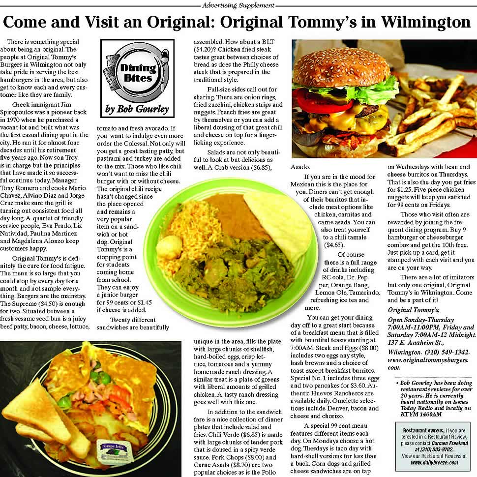 Tommys Burgers Review - Daily Breeze Review - Bob Gourley